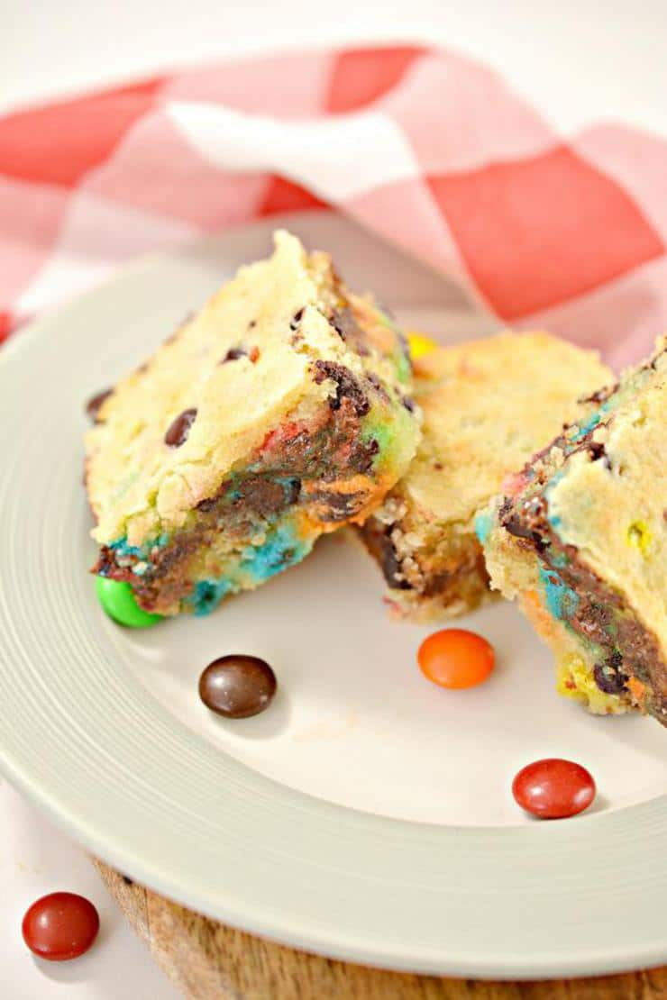 Keto Cookie Bars! Low Carb M & M Candy Chocolate Chip Cookie Bar Idea – BEST Quick & Easy Ketogenic Diet Recipe – Keto Friendly & Beginner – Desserts – Snacks - Gluten Free