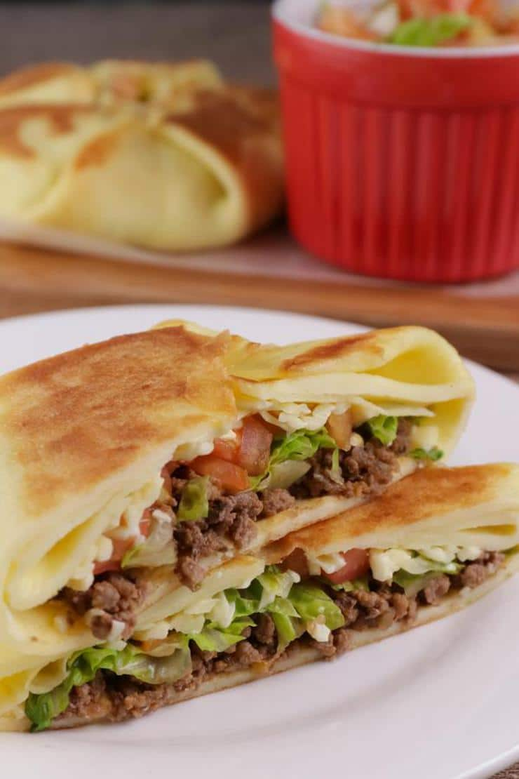 Keto Low Carb Crunchwrap Supreme – Ketogenic Diet Recipe Copycat Taco Bell Wraps – Appetizers – Side Dish – Lunch – Dinner – Completely Keto Friendly & Beginner