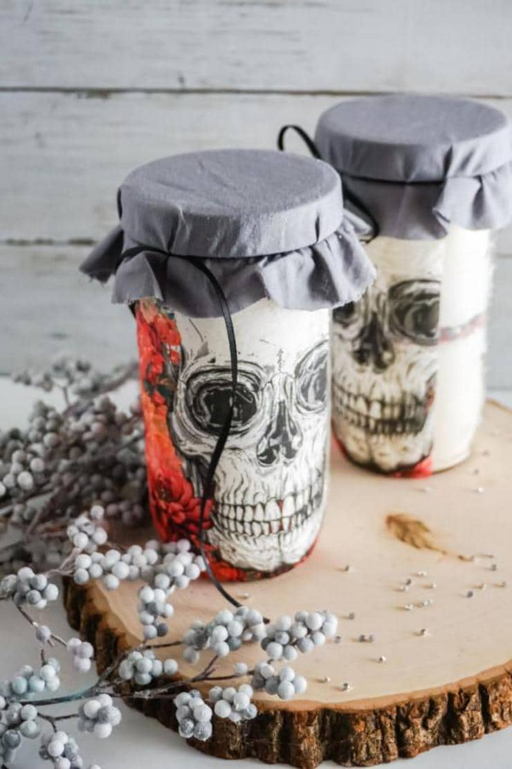 Skull Cookie Mason Jars – BEST Halloween Mason Jar Craft Project You Will Love – Easy Skull Cookie Mix In A Jar DIY Crafts