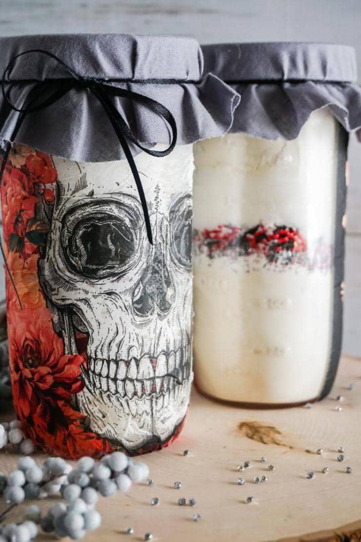 Skull Cookie Mason Jars – BEST Halloween Mason Jar Craft Project You Will Love – Easy Skull Cookie Mix In A Jar DIY Crafts