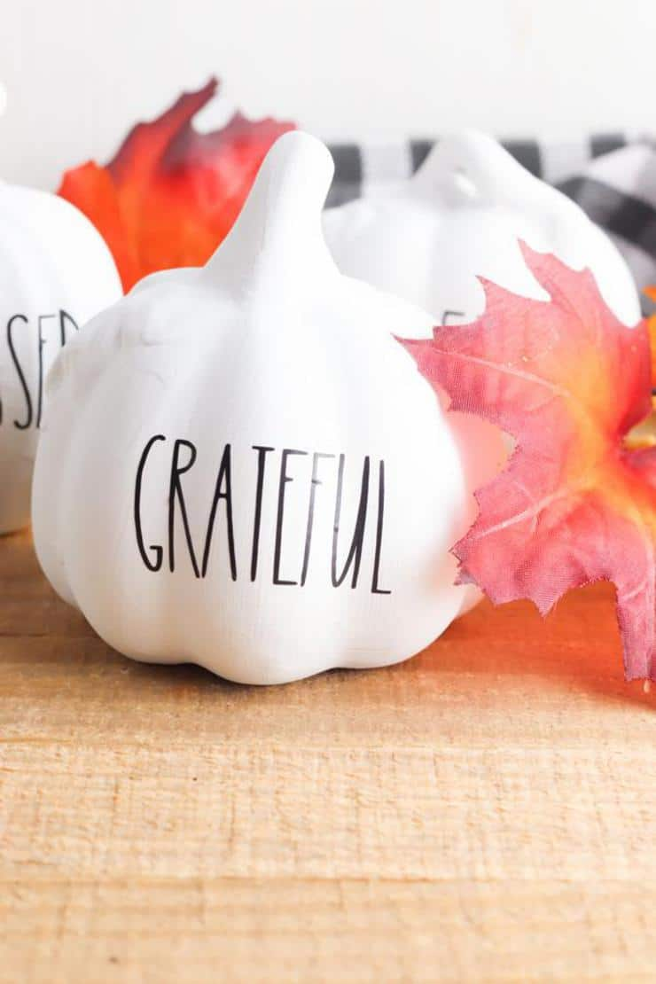 Fall Decor - BEST DIY Dollar Store Farmhouse Pumpkins - Easy Dollar Tree Ideas & Hacks - Rae Dunn Inspired - Cricut Crafts With FREE SVG File