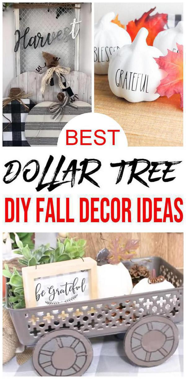 Fall Decor – DIY Dollar Store Fall Decoration Ideas & Hacks – Fall Home Decor On A Budget - Farmhouse Inspired #fall #diy #homedecor