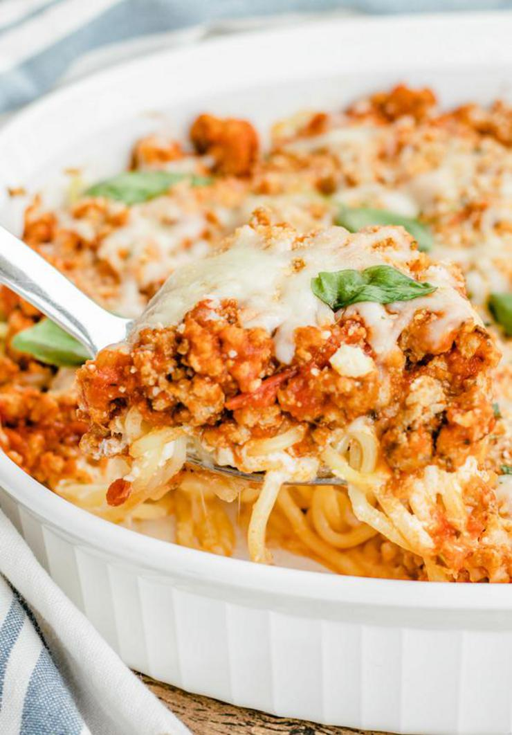 EASY Keto Baked Cream Cheese Spaghetti! Low Carb Ground Turkey Casserole Recipe – Quick – Healthy – BEST Ketogenic Diet Dinner – Lunch