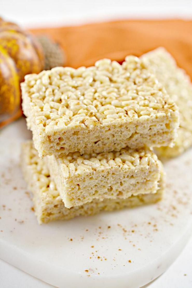 BEST Keto Rice Krispie Treats! Low Carb Pumpkin Spice Rice Krispie Treats Idea – Quick & Easy Gluten Free Recipe – Beginner Keto Friendly – Snacks – Desserts