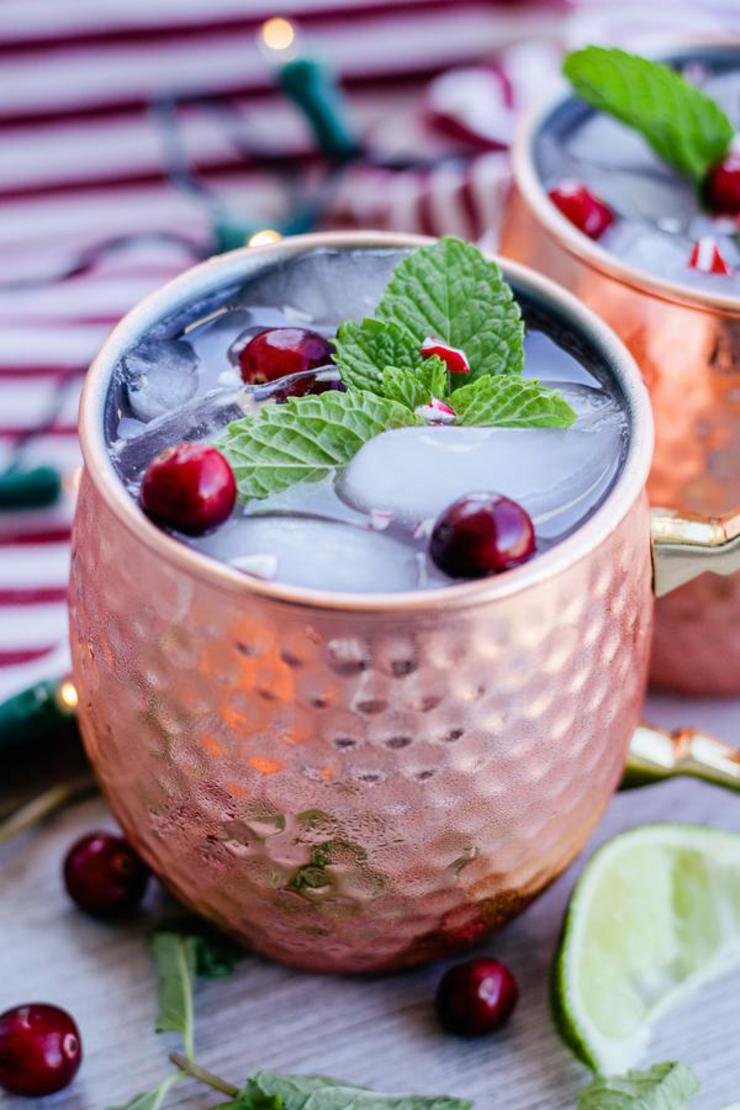 Alcoholic Drinks – BEST Peppermint Moscow Mule Recipe – Easy and Simple On The Rocks Alcohol Drinks - Winter Cocktails