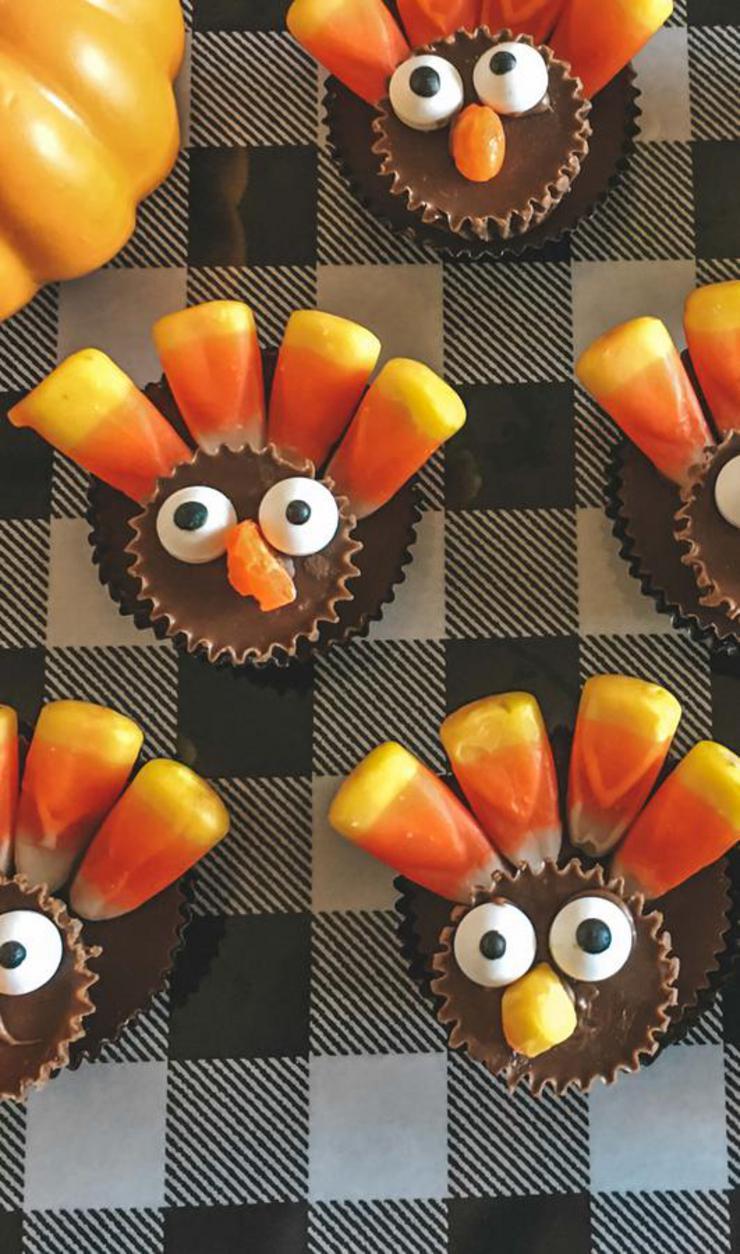 Reese Turkeys – BEST Edible Turkey Crafts – {Easy} Thanksgiving Desserts - Treats – Party Food – Desserts – Snacks