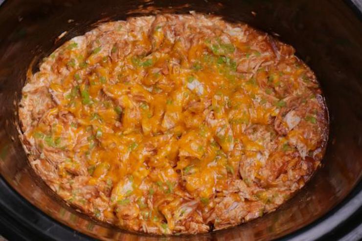 Keto Crockpot Queso Chicken Tacos