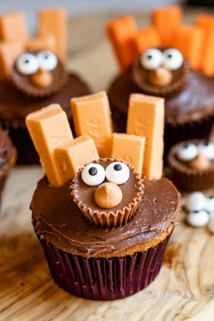 Turkey Cupcakes – BEST Edible Turkey Crafts – {Easy} Thanksgiving Desserts – Treats – Party Food – Desserts – Snacks