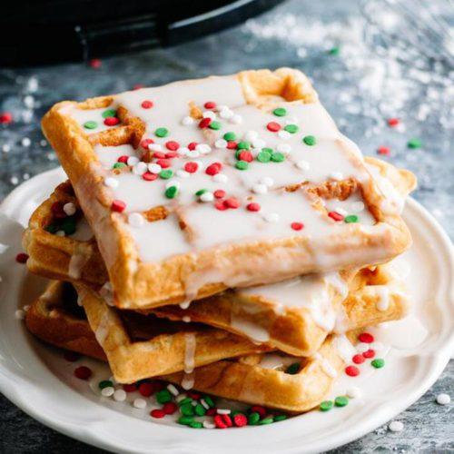 Easy Christmas Glaze Donut Waffles - Christmas Morning Breakfast - Quick - Simple Christmas Waffle Recipe