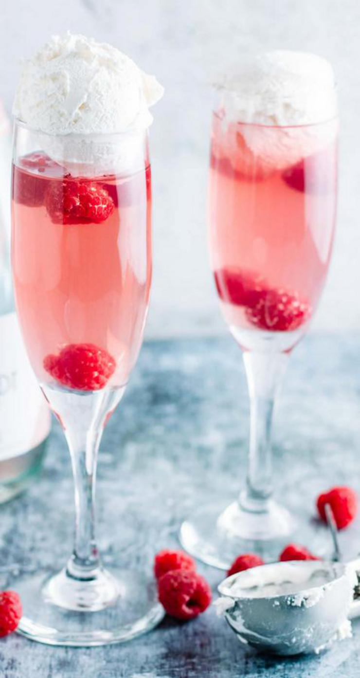 Alcoholic Drinks – BEST Pink Champagne Float Cocktail Recipe – Easy and Simple Alcoholic Drinks