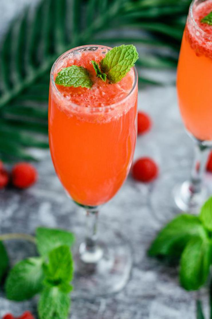 Alcoholic Drinks – BEST Raspberry Champagne Punch Bellini Recipe – Easy and Simple Champagne Alcoholic Drinks