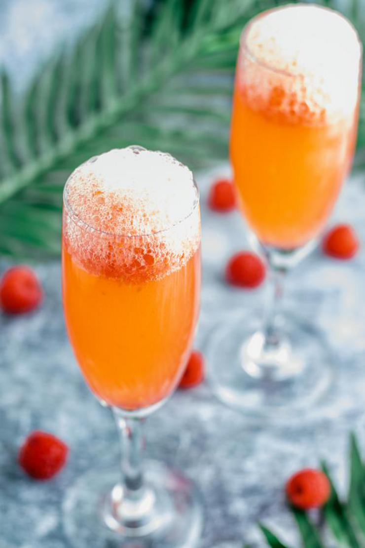 Alcohol Drinks Raspberry Champagne Punch Bellini