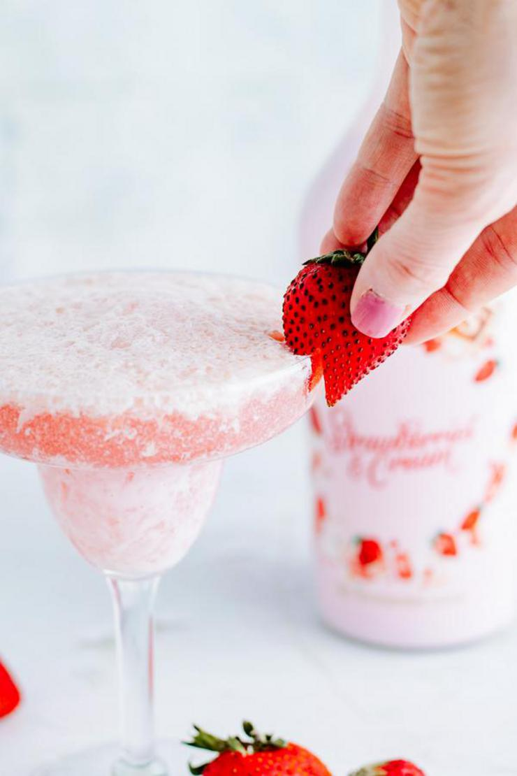 Alcohol Drinks Strawberries And Cream Champagne Cocktail