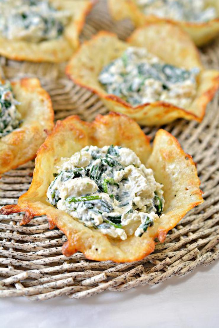 Easy Keto Spinach Artichoke Cheese Cups – Best Homemade Low Carb Spinach Artichoke Dip Cheese Cup Recipe – Finger Food – Appetizers – Snacks – Party Food – Quick – Simple
