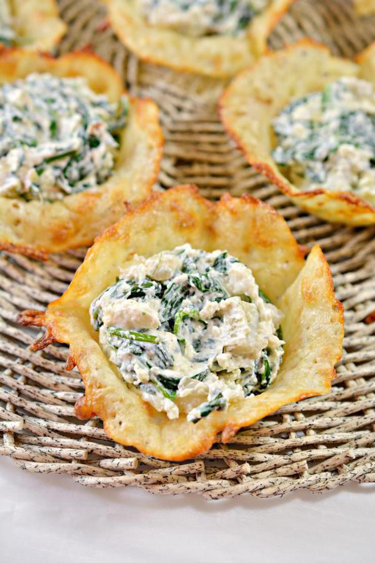 Keto Spinach Artichoke Dip Cheese Cups