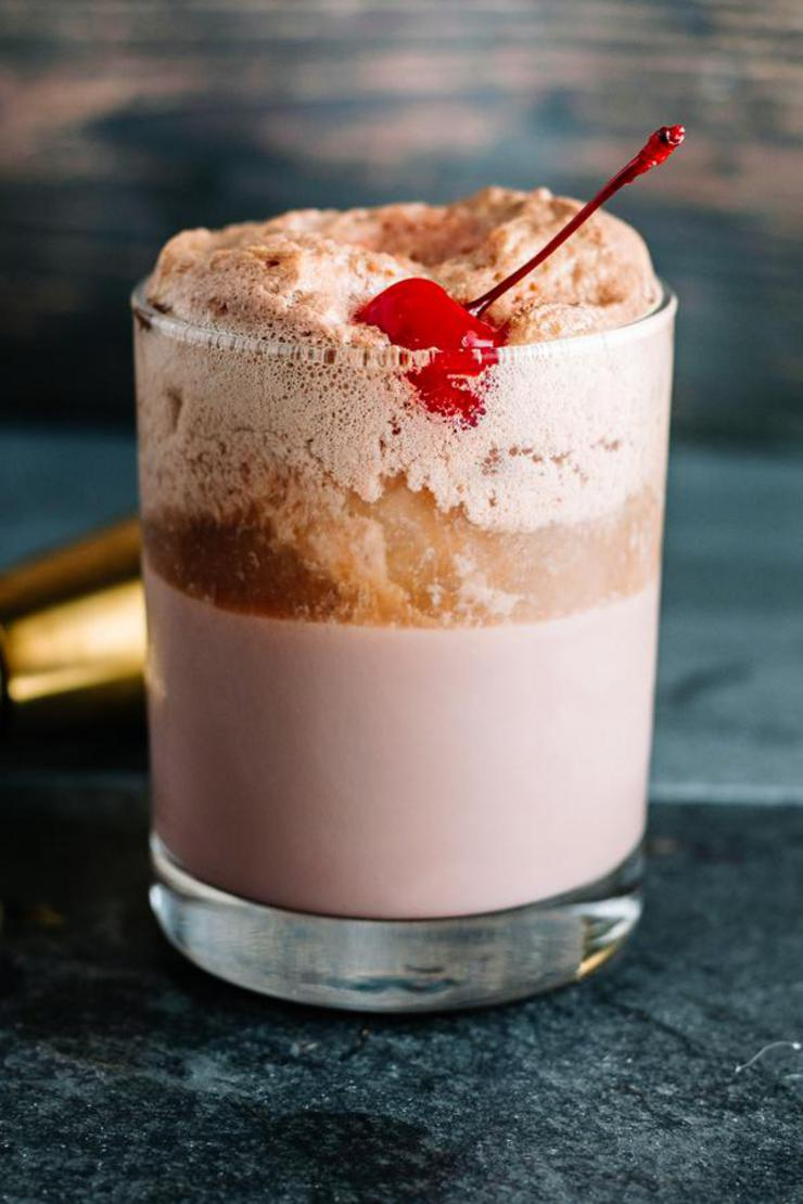 Alcohol Drinks Cherry Chocolate Float Cocktail