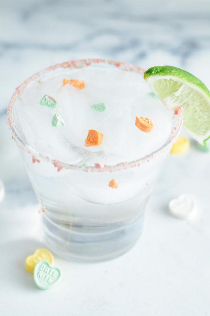 Alcoholic Drinks – BEST Conversation Heart Margarita Cocktail Recipe – Easy and Simple Valentines Alcohol Drinks