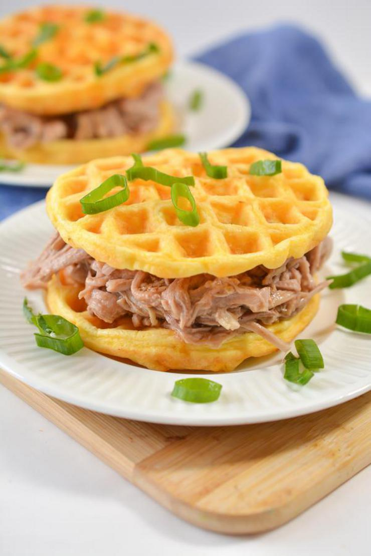Keto 3 Ingredient Pulled Pork Recipe - Low Carb Pulled Pork Chaffle Sandwich - Gluten Free - Dinner - Lunch