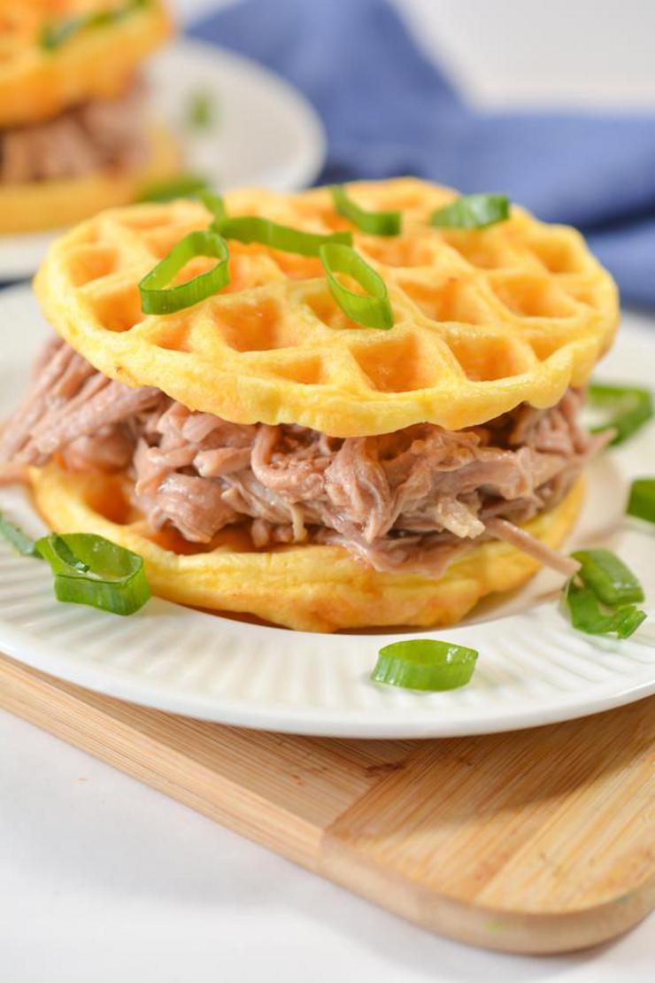 Keto Chaffle 3 Ingredient Pulled Pork Sandwich