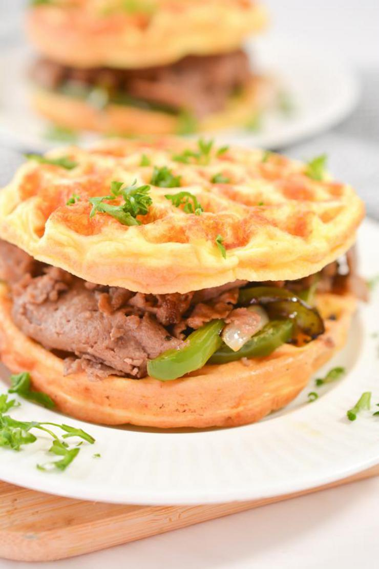 Keto Chaffle Philly Cheesesteak Sandwich
