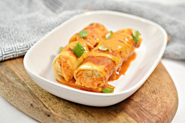 Keto Chicken Enchilada Pasta Roll Ups