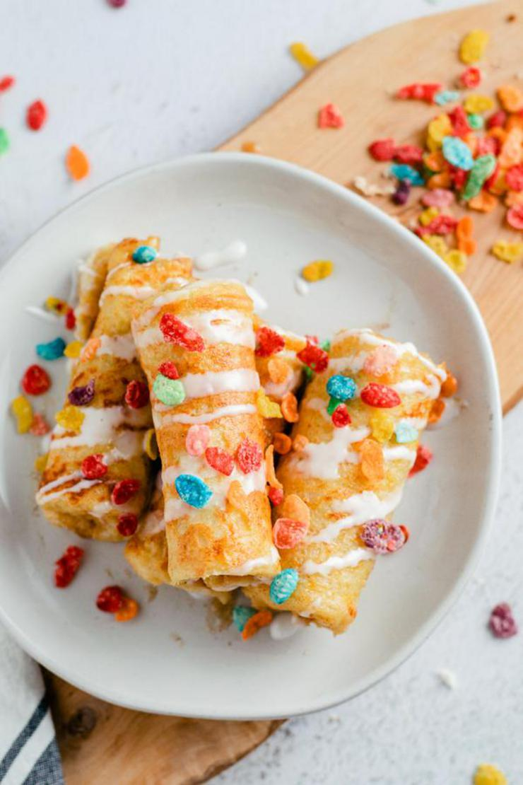 Fruity Pebbles French Toast Roll Ups