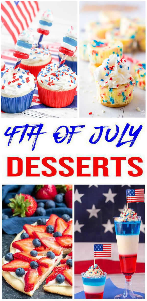 25 BEST 4Th Of July Desserts - Easy Patriotic Dessert Ideas - Red, white and blue 4th of July desserts to satisfy any sweet tooth. Need desserts for a crowd, family or friends? Check out these Patriotic & Festive 4th of July cakes, easy 4th of July cookies, July 4th cheesecake & tons of other 4th of July party foods.