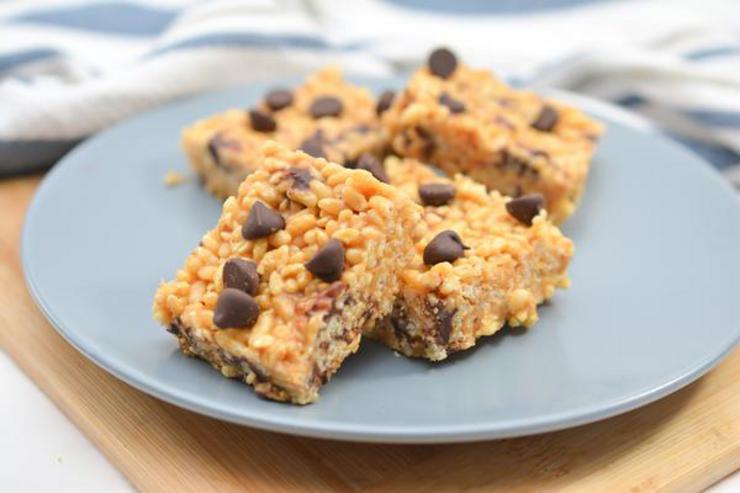 Keto Peanut Butter Chocolate Chip Rice Krispies Treats