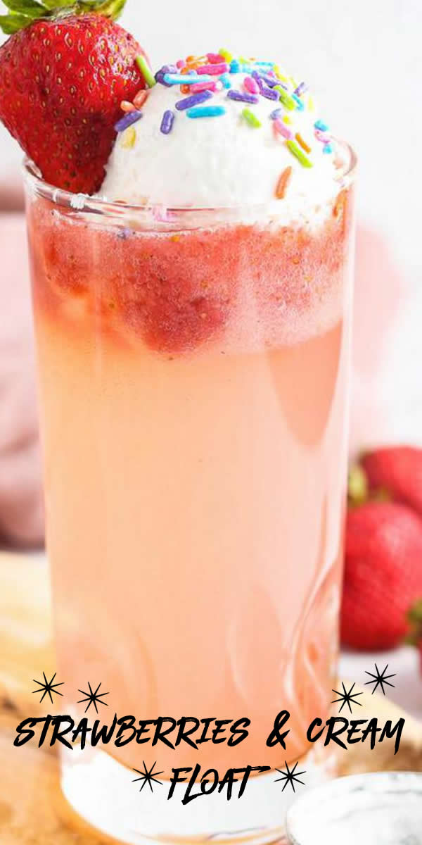 3 Ingredient Strawberries and Cream Float Recipe – BEST Kids Party Food – Easy – Cheap Ideas - Simple Mocktail Drinks