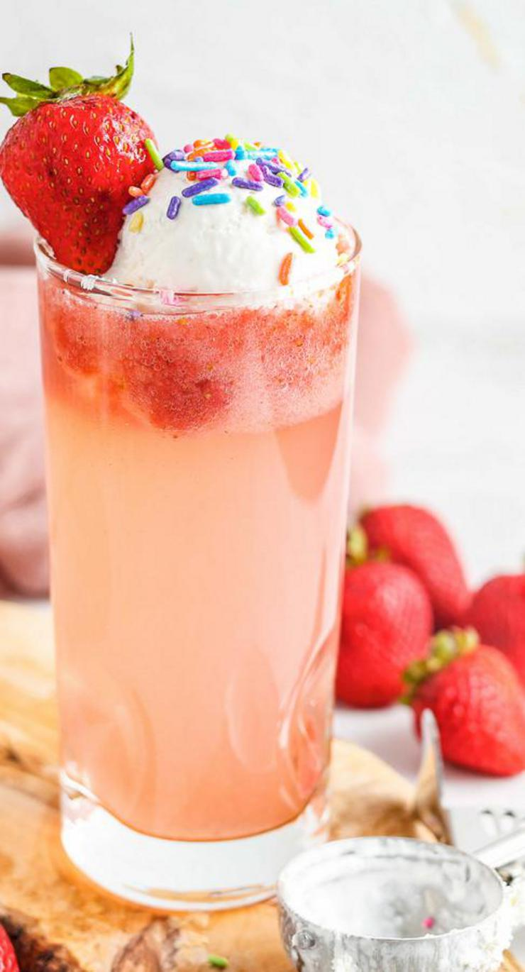 Strawberries And Cream Floats