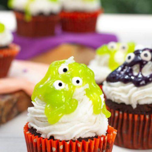 BEST Slime Monster Brownie Cupcakes! EASY Chocolate Brownie Cupcake Recipe – Simple Desserts – Kids Parties - Halloween