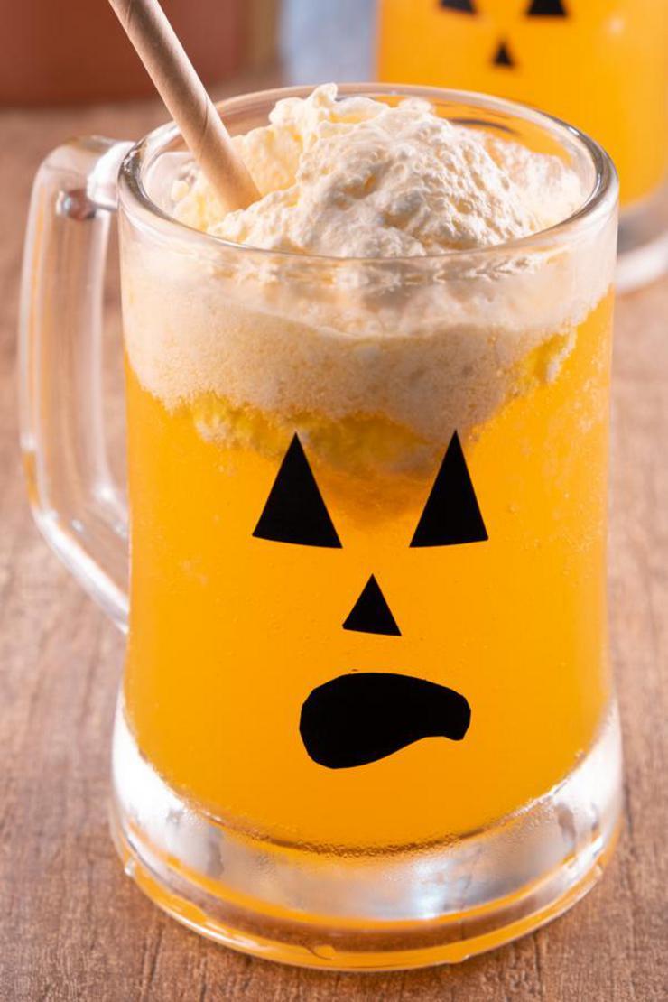 BEST Jack O Lantern Floats - Fun Halloween Drinks For Kids {EASY} Mocktails