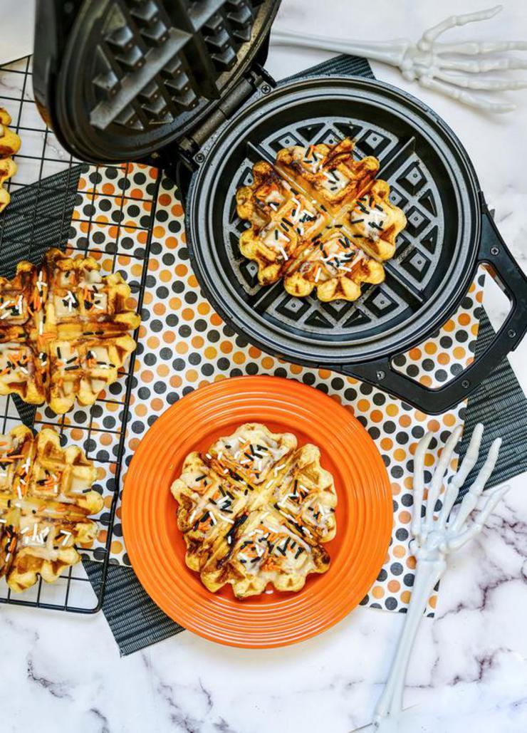 Pumpkin Waffle Iron Cinnamon Roll
